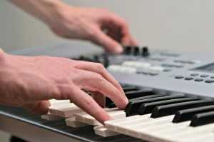 playing keyboard