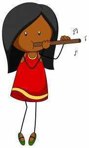 cartoon girl playing flute