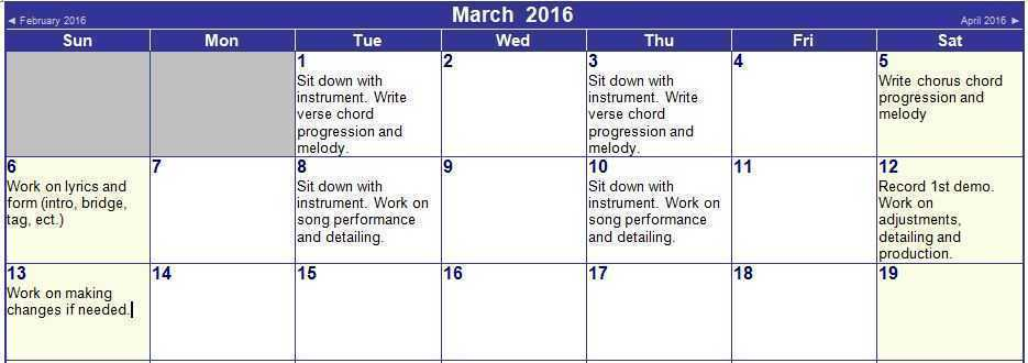 how to write a song calender