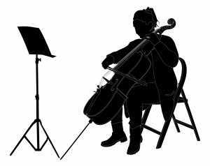 cello player in shadow