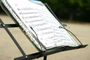 sheet music on stand