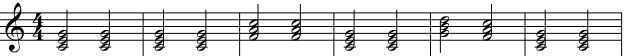 C major 12 bar blues treble clef