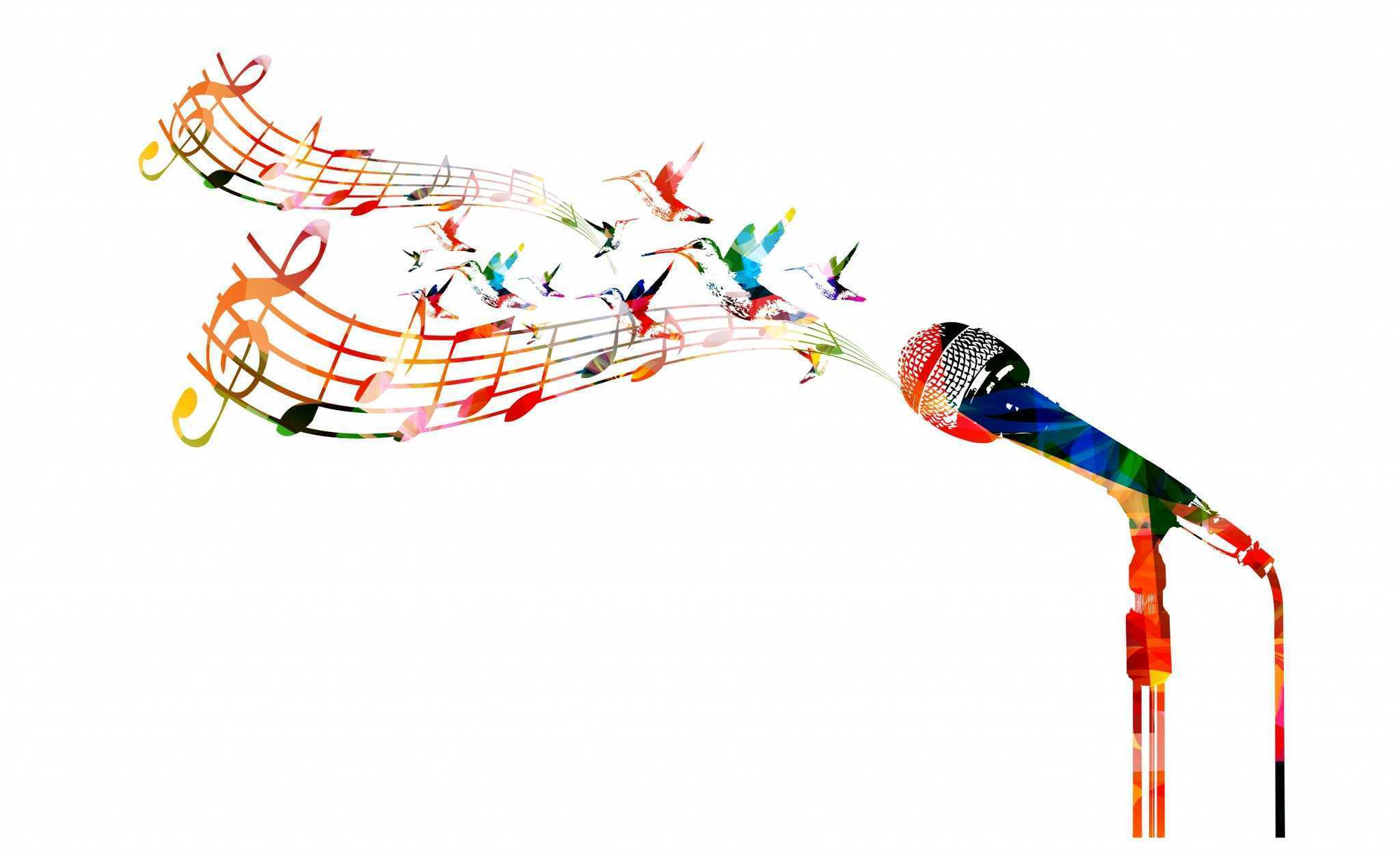colorful microphone music notes
