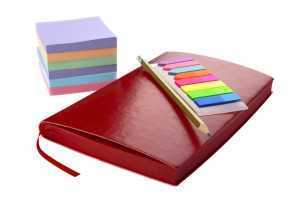 day planner with post-its