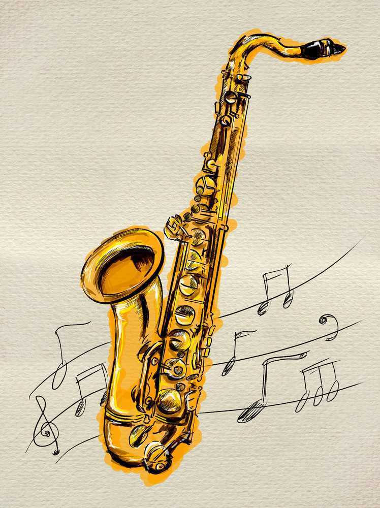 imagine reading a sentence and creative saxophone drawing