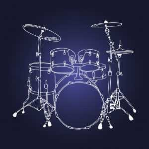 drum set on blue background drawing