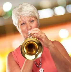practicing trumpet