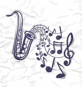 jazz saxophone with notes