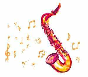 picture of saxophone in watercolor