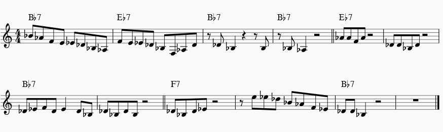 blues progression in Bb