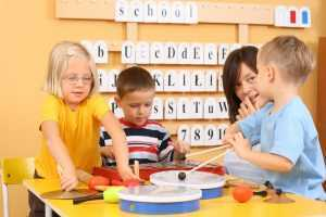 drums and xylophones classroom children