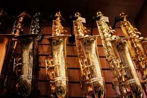 types of saxophones on display