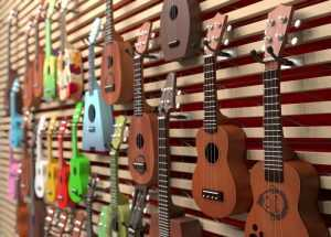 different shapes and colors ukuleles
