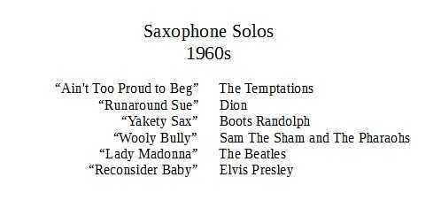 saxophone solos 1960s