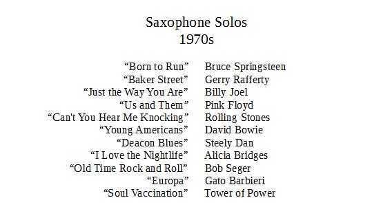 saxophone solos 1970s