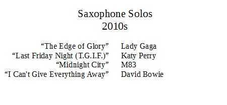 saxophone solos 2010s