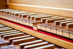 harpsichord keys zoomed in