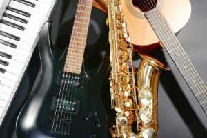 saxophone with bass guitar and keyboard