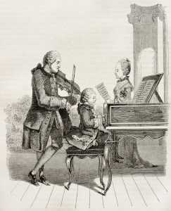 wolfgang and nannerl mozart with father