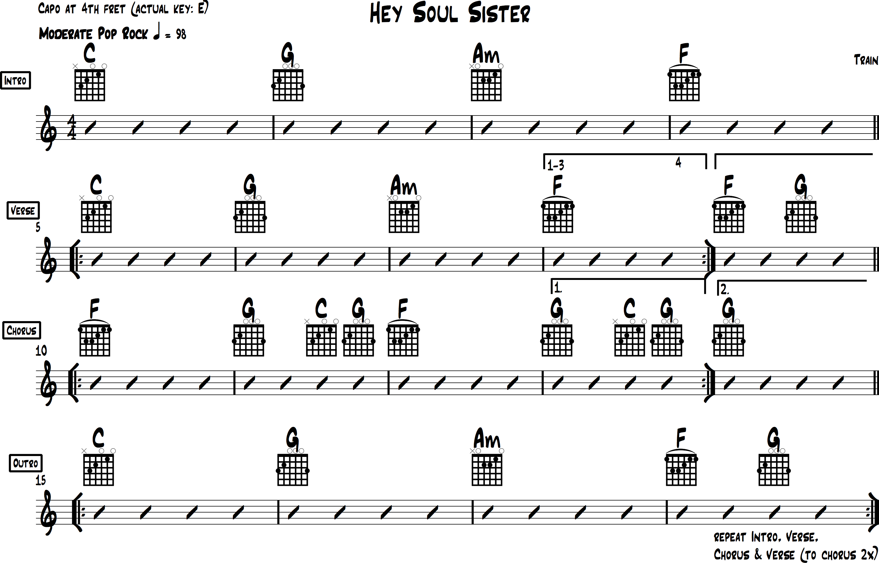 Hey Soul Sister Chords For Acoustic Guitar Train