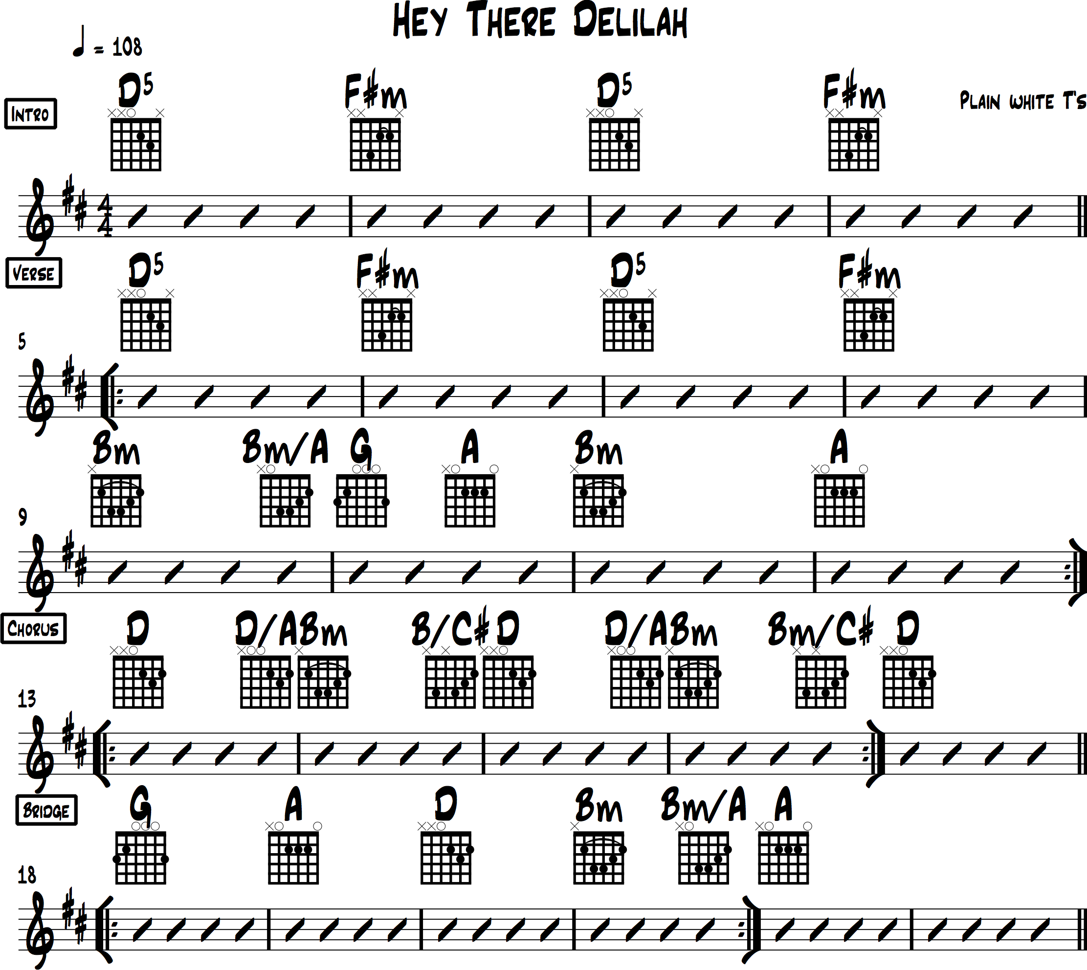 Hey There Delilah guitar arrangement