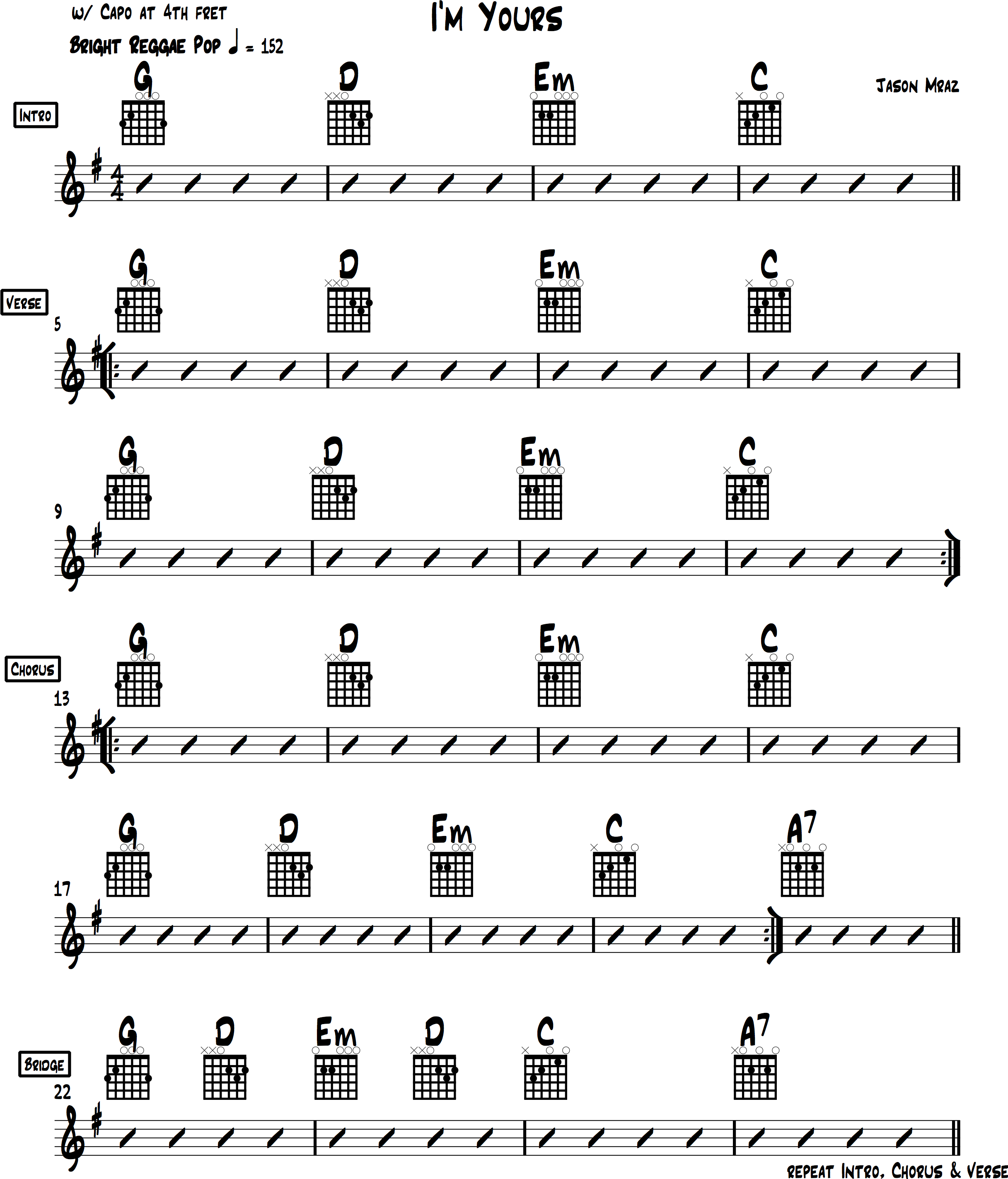 Im yours chords tutorial jason mraz im yours chords easy guitar tabs hexwebz Images