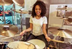 female drummers practice
