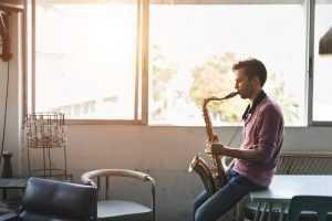 saxophone practice in empty room