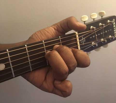 A minor guitar chord fret