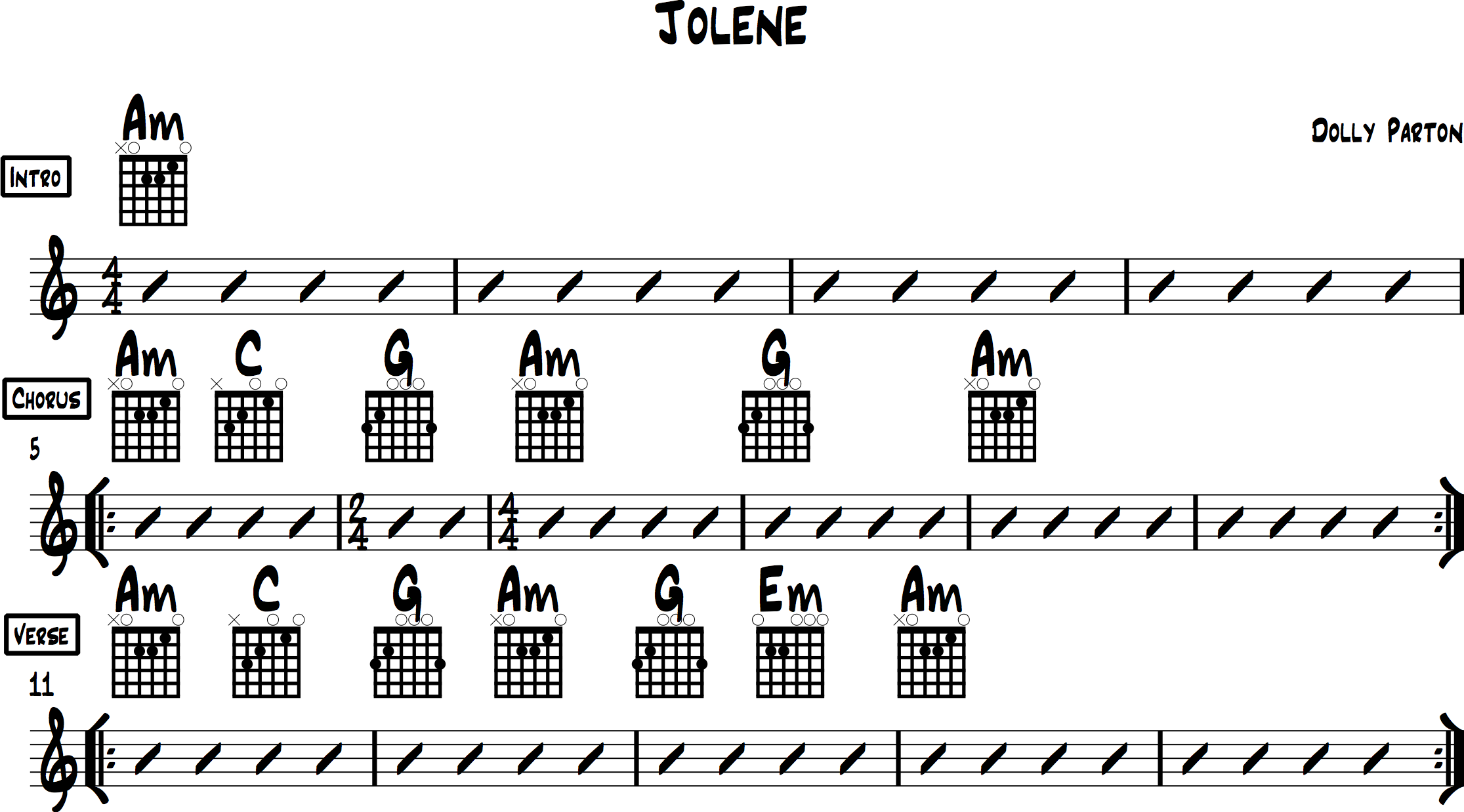 Jolene Chords for Acoustic Guitar (Dolly Parton)