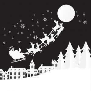 santa flying reindeer sleigh