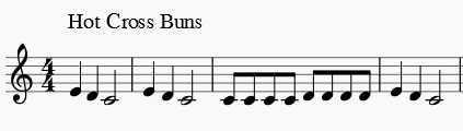 Hot Cross Buns clarinet music