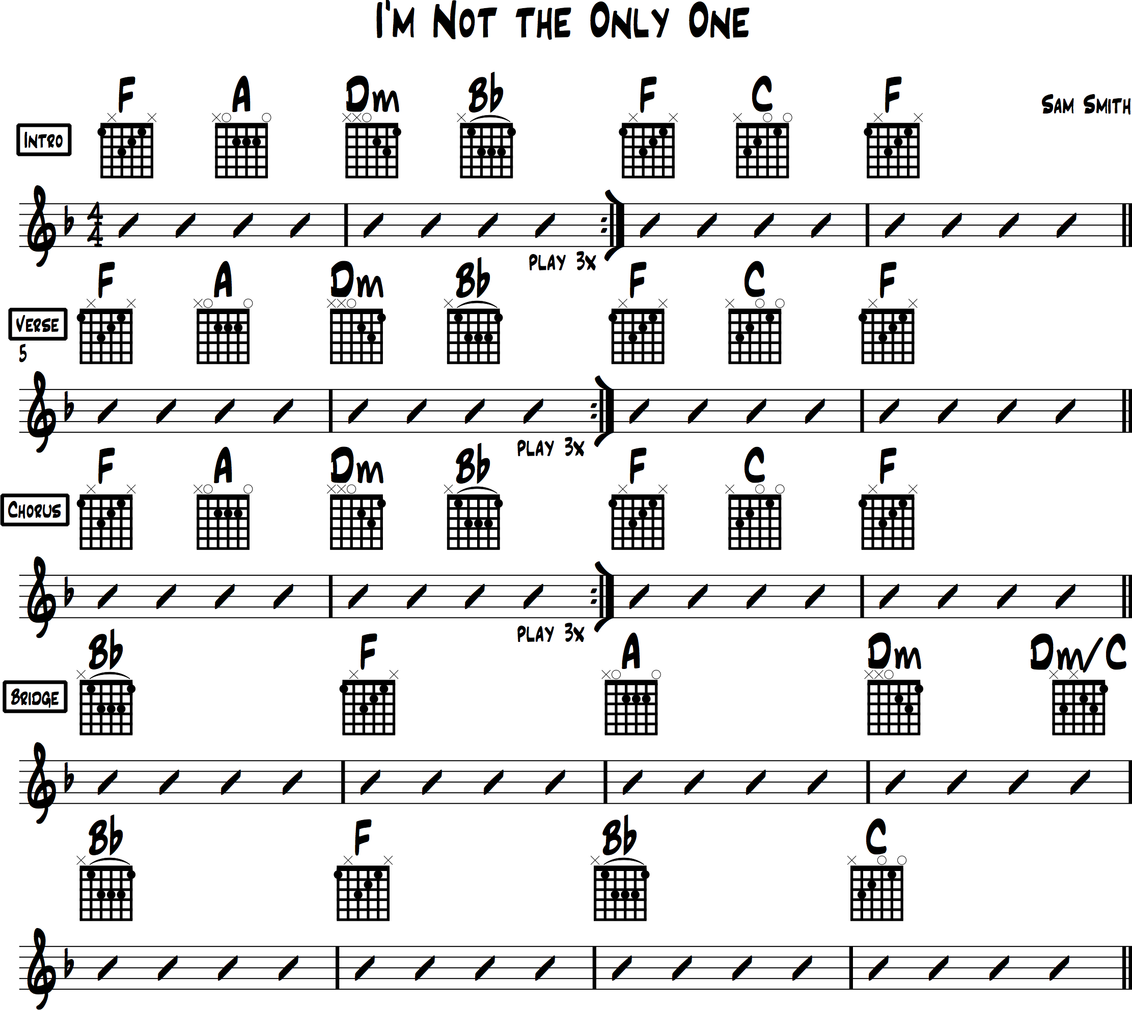 Chord Chart for I'm Not the Only One