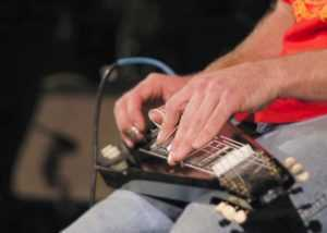 lap steel guitar player