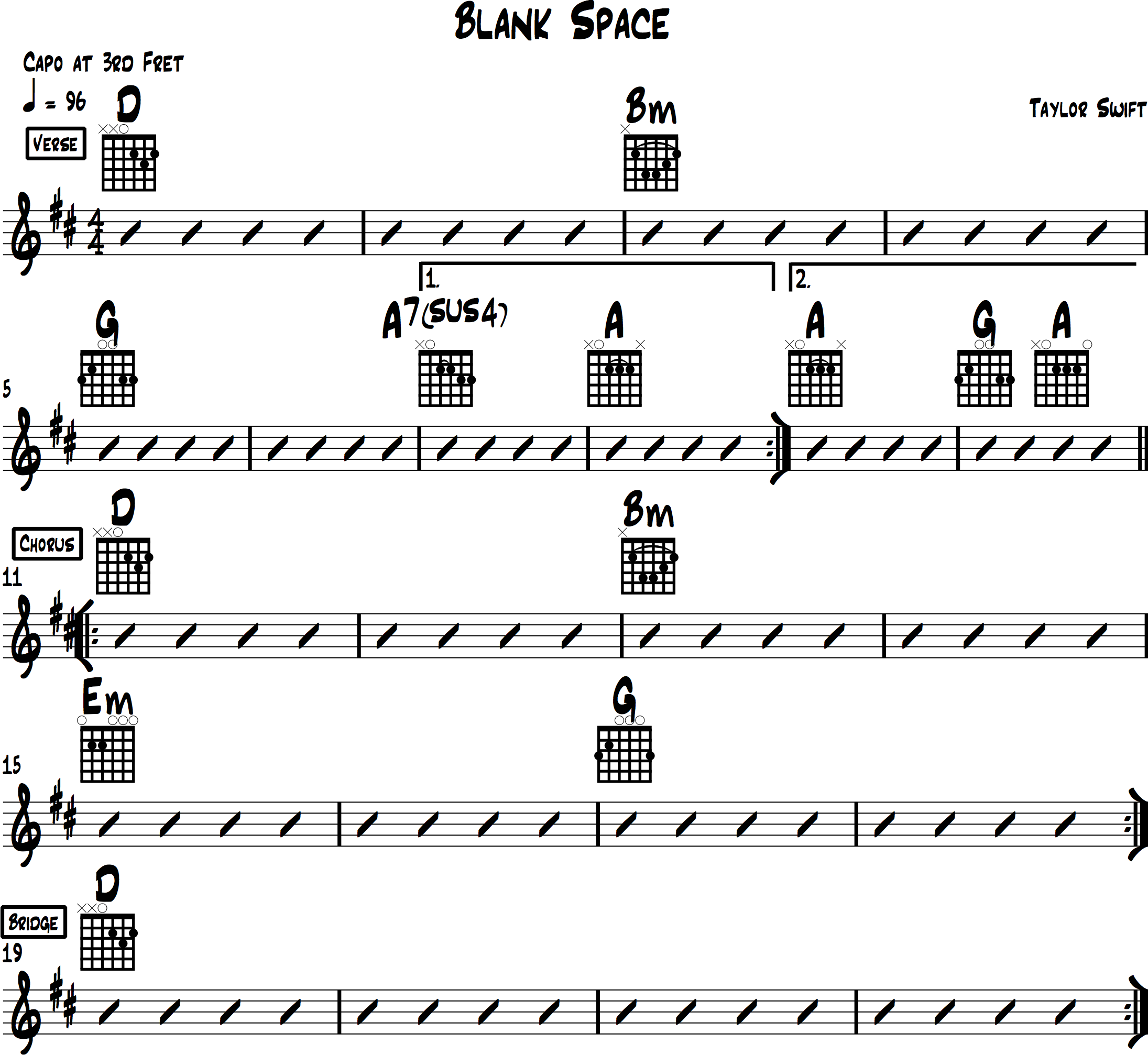 Blank Space Chord chart for guitar