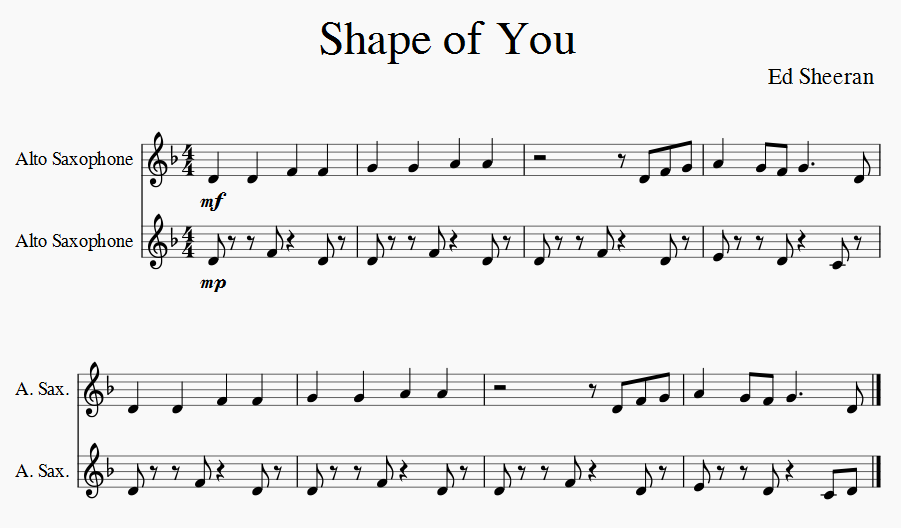 shape of you ed sheeran saxophone