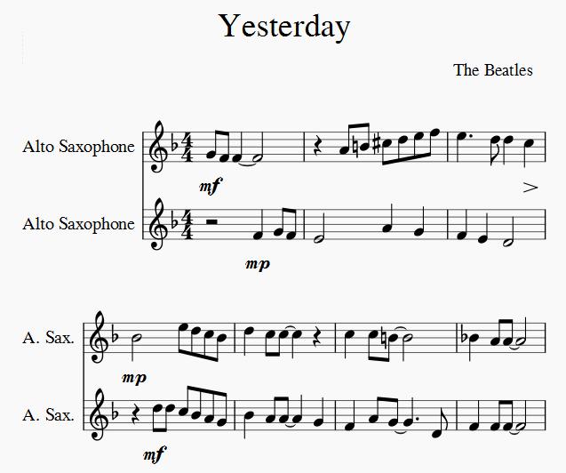 saxophone duets yesterday beatles